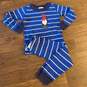 Hanna Andersson gnome Blue Striped Long Pajamas